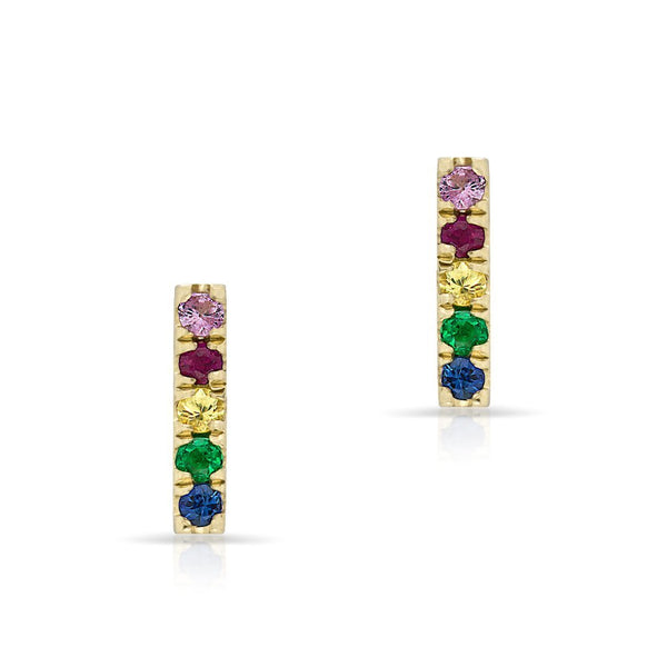 14KT Yellow Gold Rainbow Bar Earrings