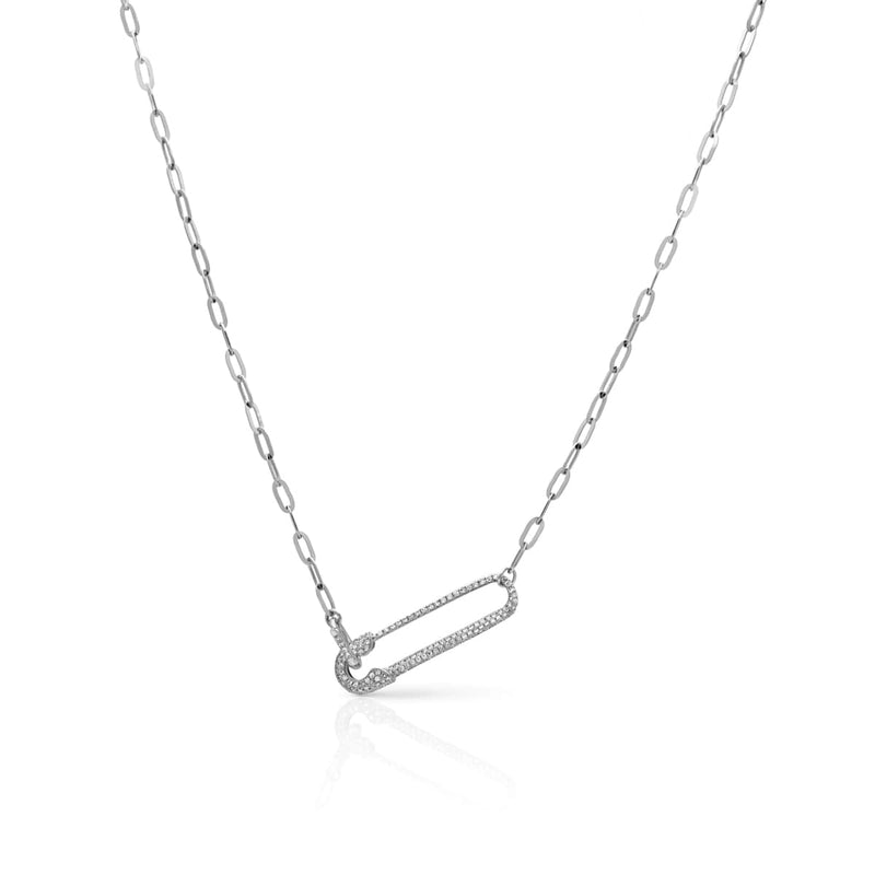 14KT White Gold Diamond Safety Pin Chain Link Necklace
