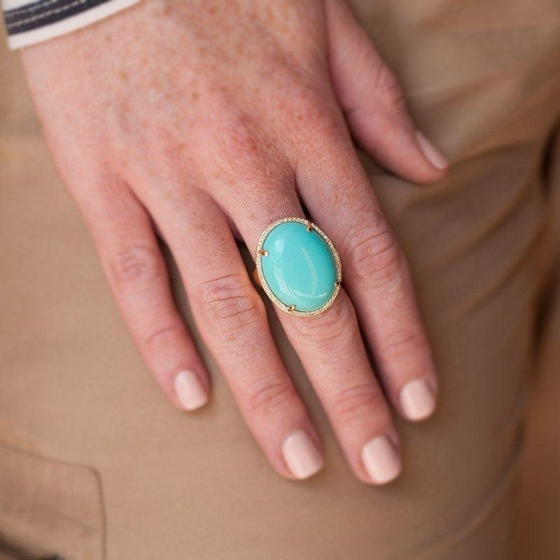 14KT Yellow Gold Turquoise Diamond Oval Cocktail Ring