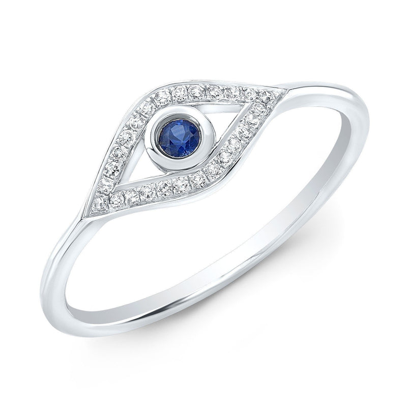 14KT White Gold Diamond Sapphire Open Evil Eye Ring