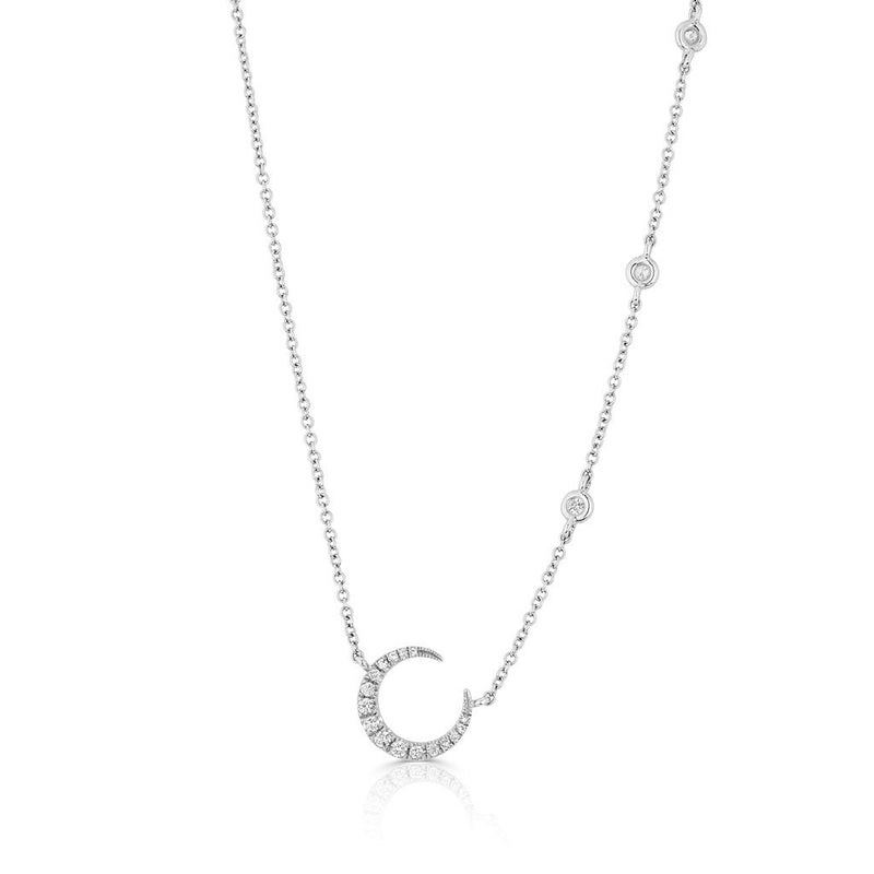 14KT White Gold Diamond Mini Lunar Necklace
