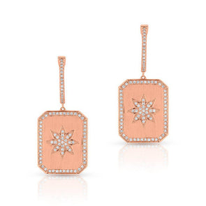 14KT Rose Gold Diamond Star Charmed Earrings