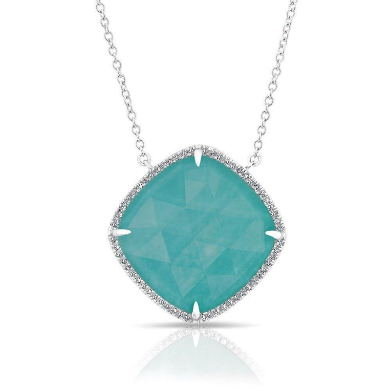 14KT White Gold Diamond Laguna Turquoise Necklace