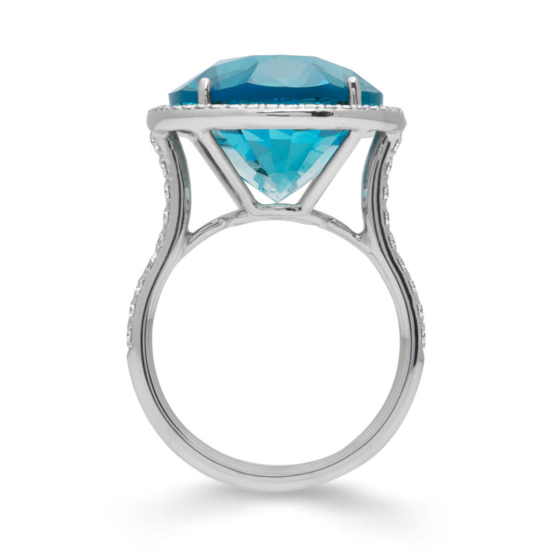 18KT White Gold London Blue Topaz Diamond Luxe Eudora Ring