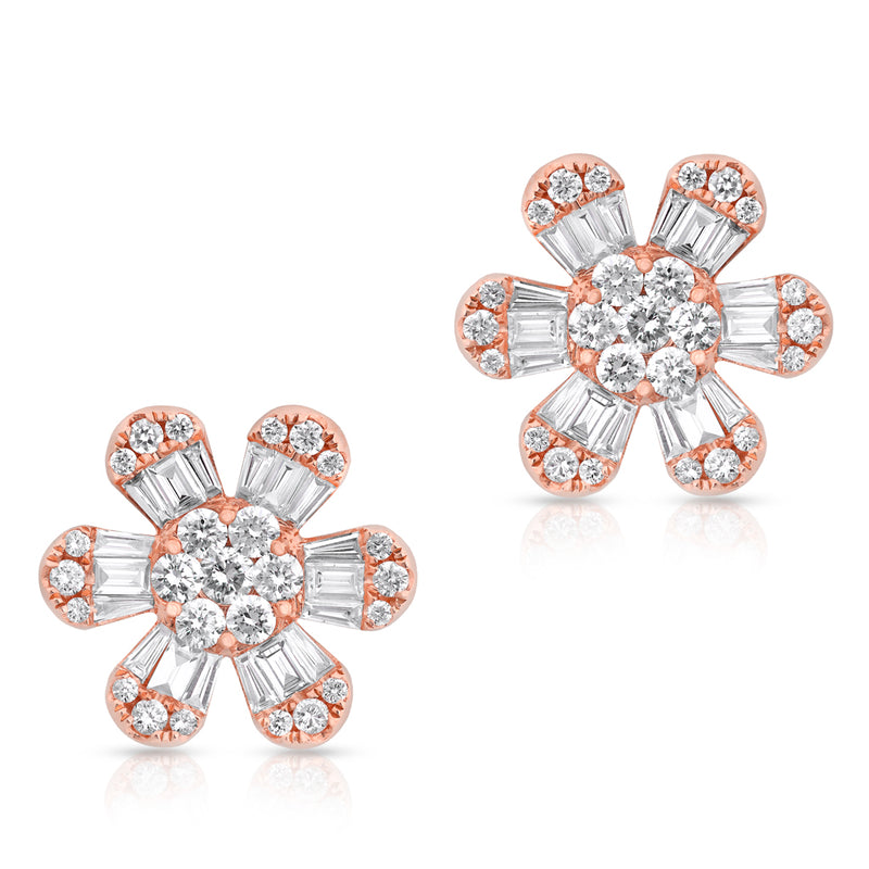 14KT Rose Gold Baguette Diamond Luxe Large Daisy Earrings