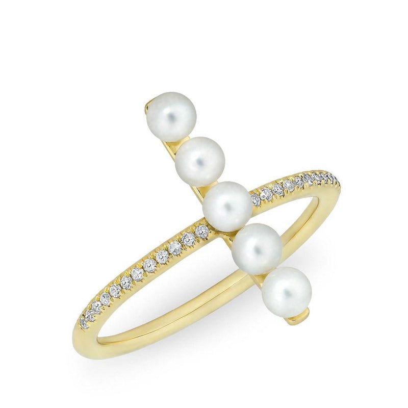 14KT Yellow Gold Diamond Pearl Pillar Ring