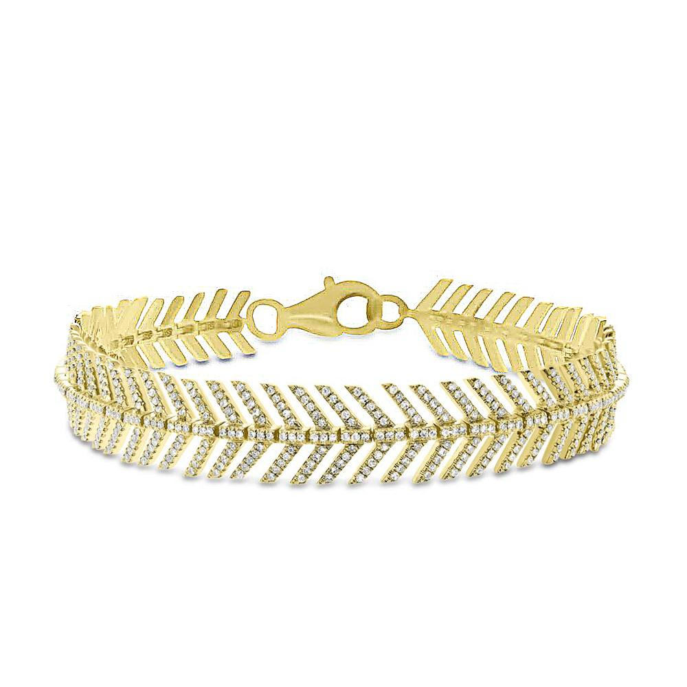 14KT Yellow Gold Diamond Feather Bracelet