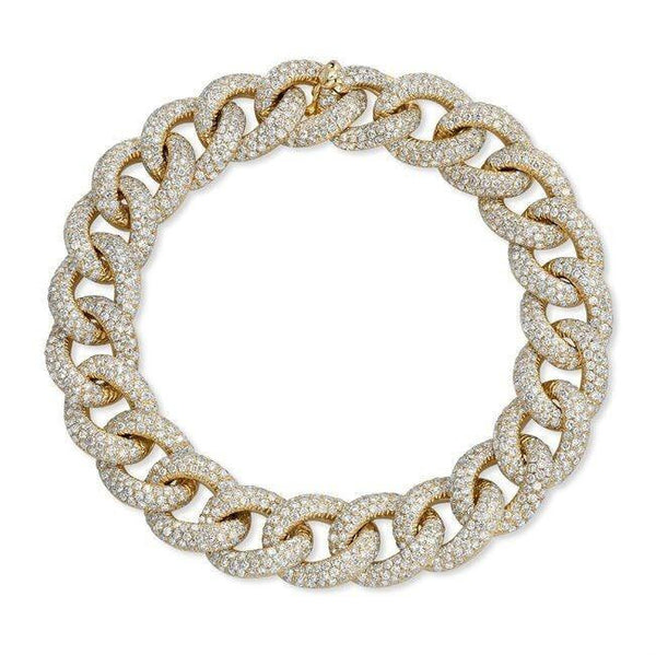 yellow gold diamond luxe chain link bracelet