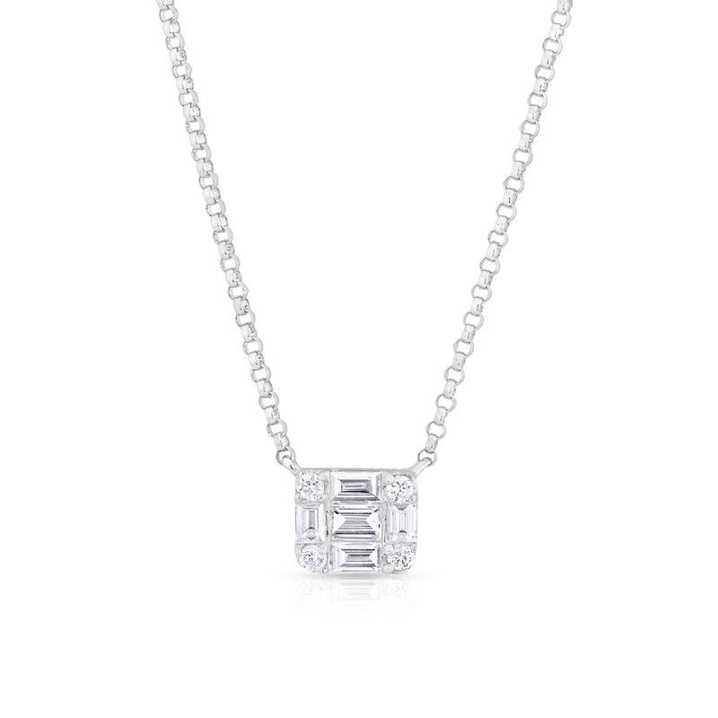 14KT White Gold Baguette Diamond Haiden Necklace