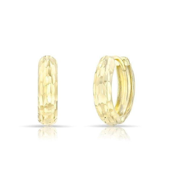 14KT Solid Yellow Gold Sleek Faceted Huggie Earrings