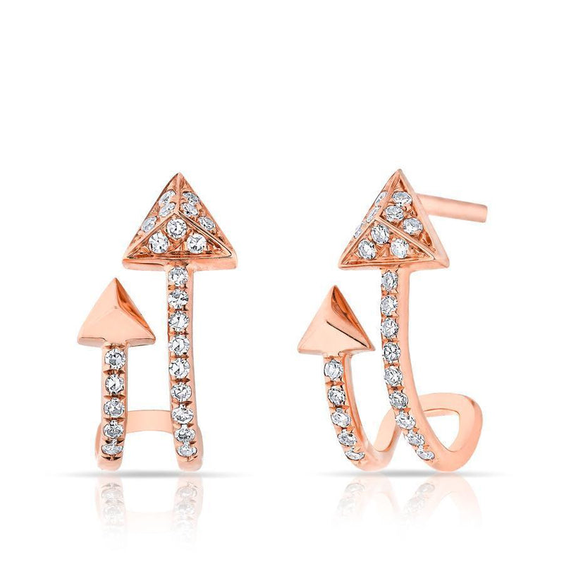 14KT Rose Gold Diamond Curved Arrow Huggie Earrings