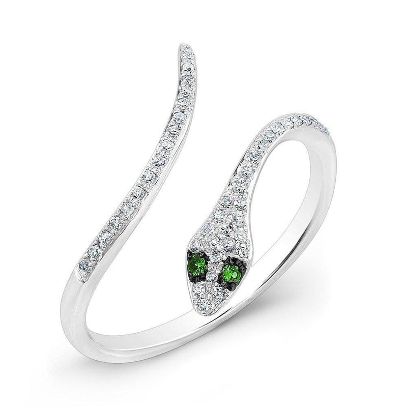 14KT White Gold Diamond Slytherin Ring with Emerald Eyes