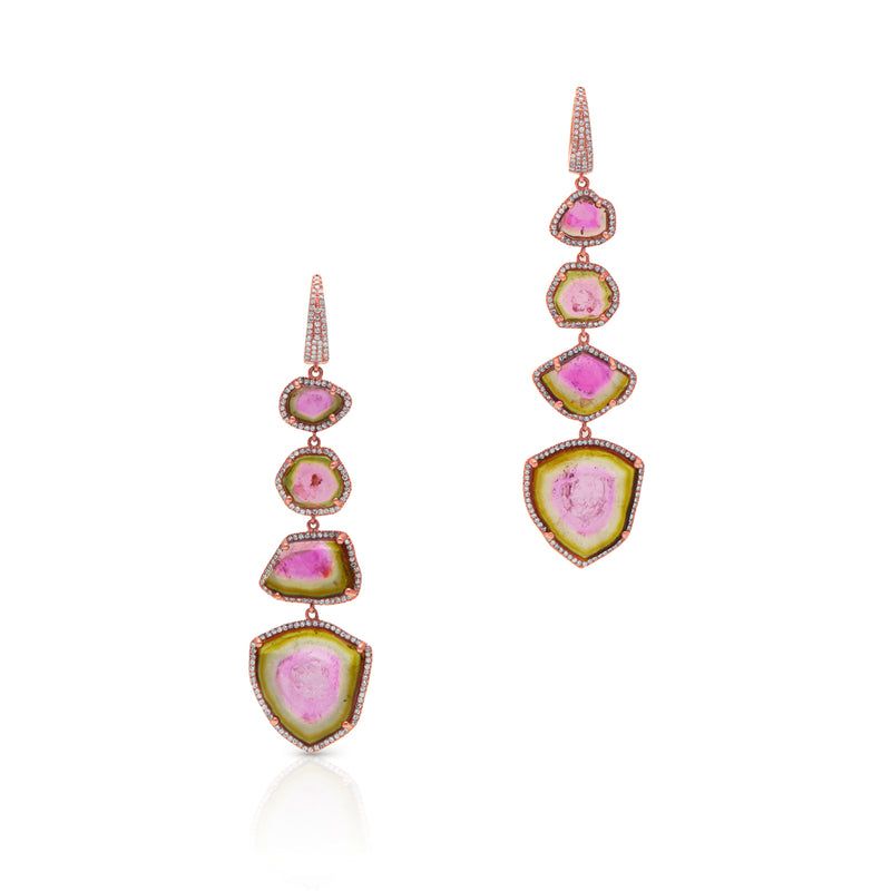 14KT Rose Gold Watermelon Tourmaline Diamond Drop Earrings