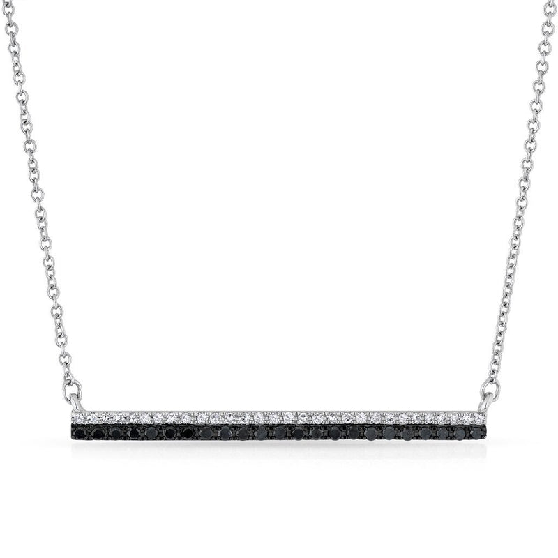 14KT White Gold Black and White Diamond Bar Necklace