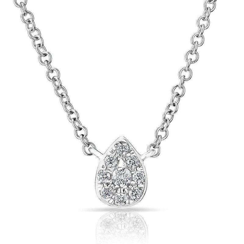 14KT White Gold Diamond Mini Pear Joan Necklace