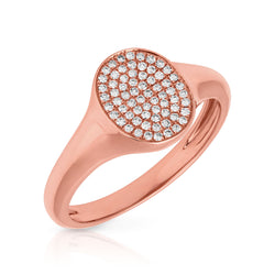 14KT Rose Gold Diamond Pave Oval Disc Ring