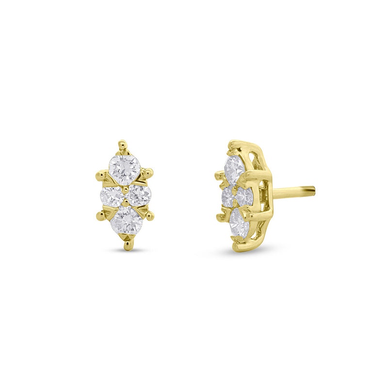 14KT Yellow Gold Diamond Marquis Maisie Stud Earrings