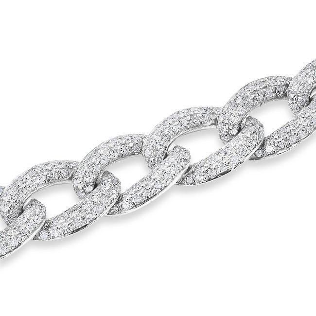 14KT White Gold Diamond Chain Link Magnificence Bracelet