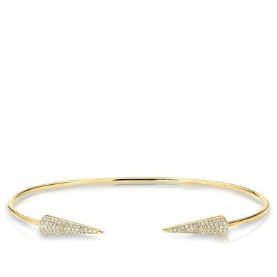 14KT Yellow Gold Diamond Open Pierce Cuff Bracelet