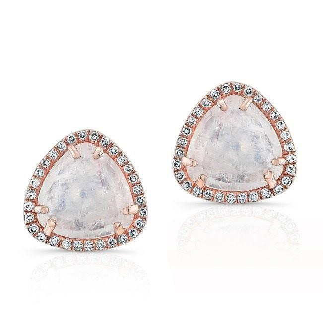 14KT Rose Gold Moonstone Diamond Stud Earrings