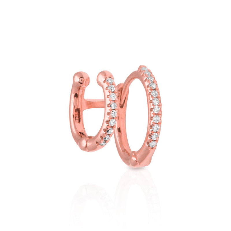 14KT Rose Gold Diamond Lola Cuff and Huggie Earring
