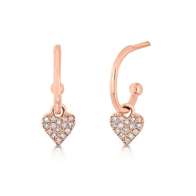 14KT Rose Gold Diamond Heart Aubrielle Huggie Earrings