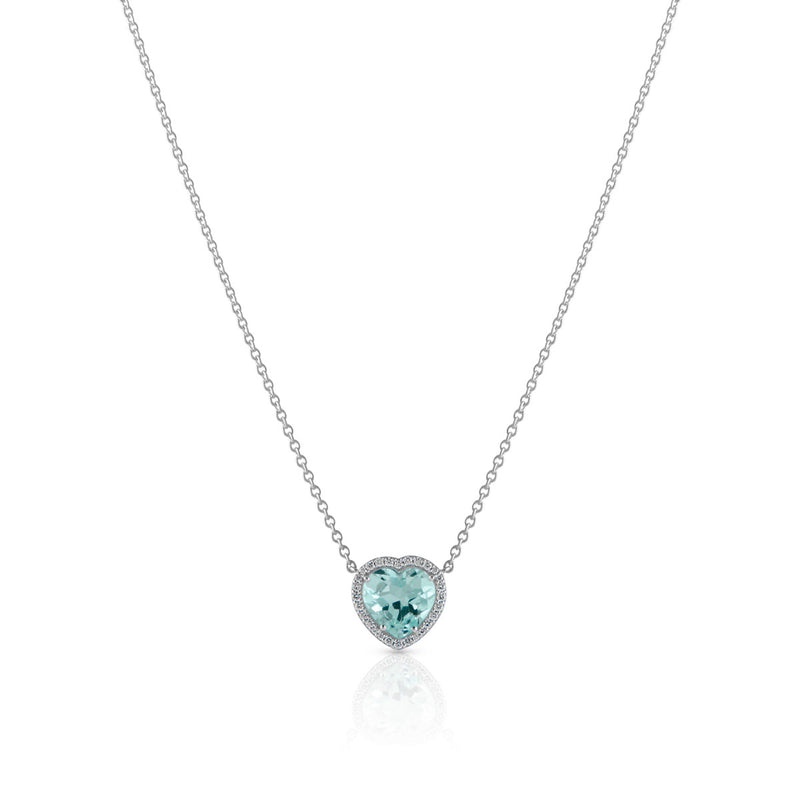 18KT White Gold Aquamarine Diamond Luxe Amour Necklace