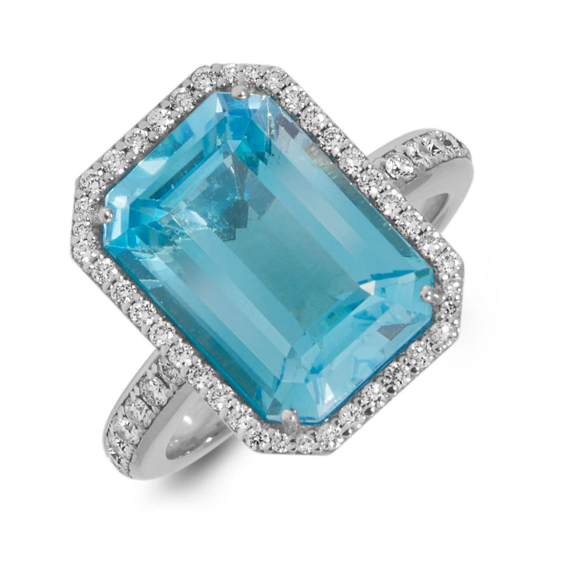 18KT White Gold Blue Topaz Diamond Leona Ring