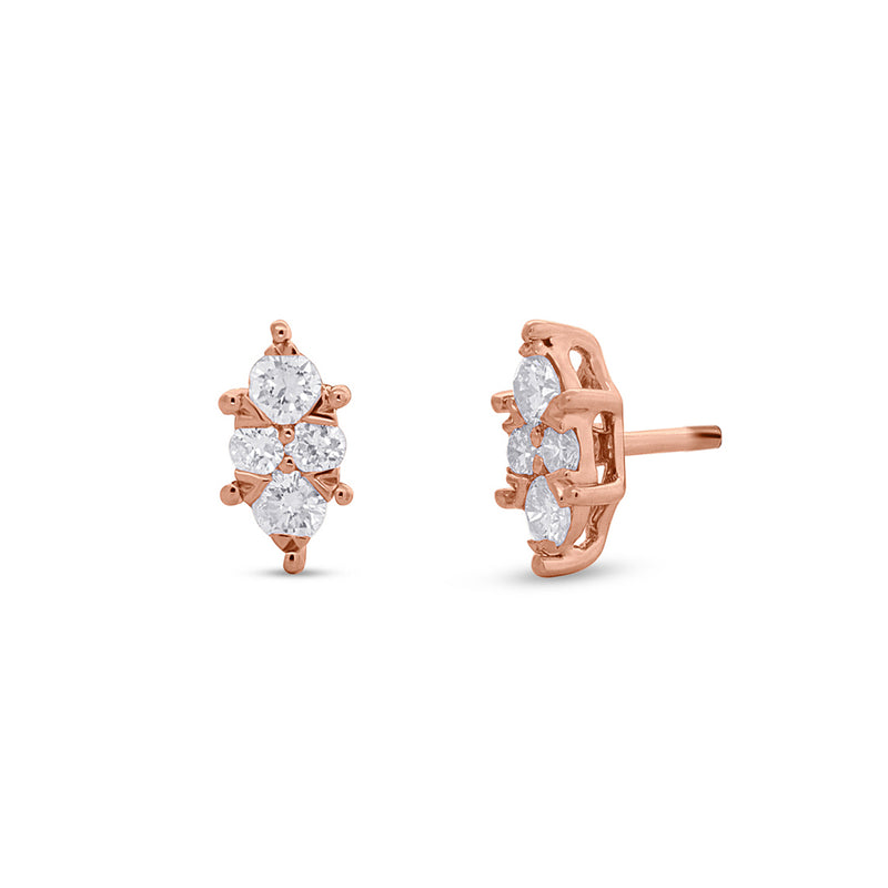 14KT Rose Gold Diamond Marquis Maisie Stud Earrings