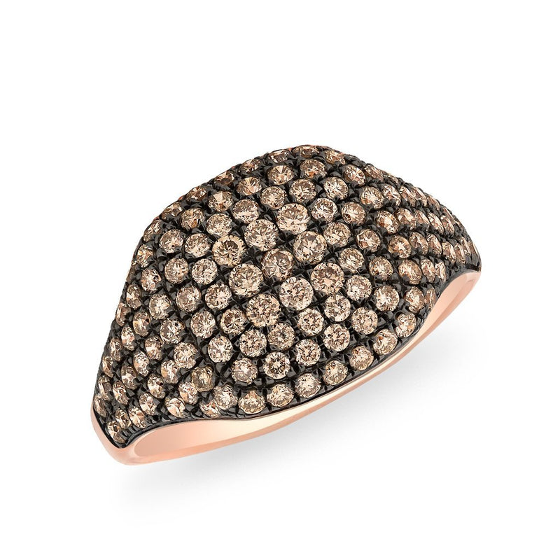 14KT Rose Gold Champagne Diamond Cushion Pinkie Ring