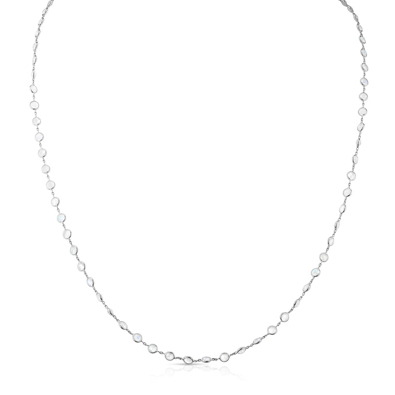 "14KT White Gold Moonstone 36"" Necklace"