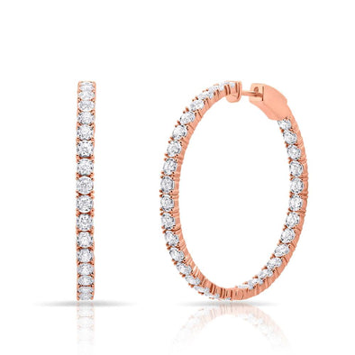 14KT Rose Gold Diamond Medium Bella Hoop Earrings