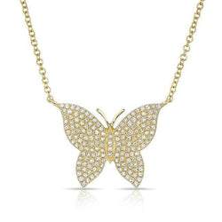 14KT Yellow Gold Pave Diamond Butterfly Necklace