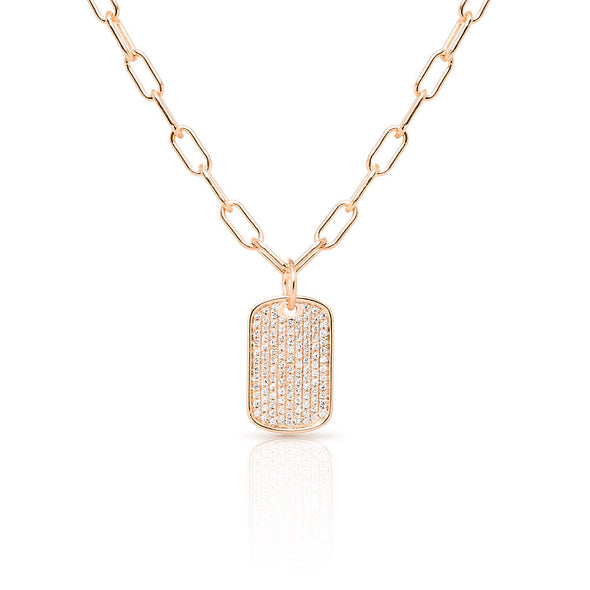 14KT Rose Gold Diamond Dog Tag Charm