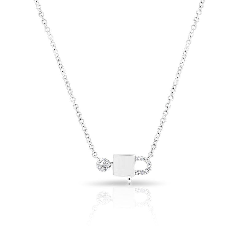14KT White Gold Diamond Lock and Key Necklace