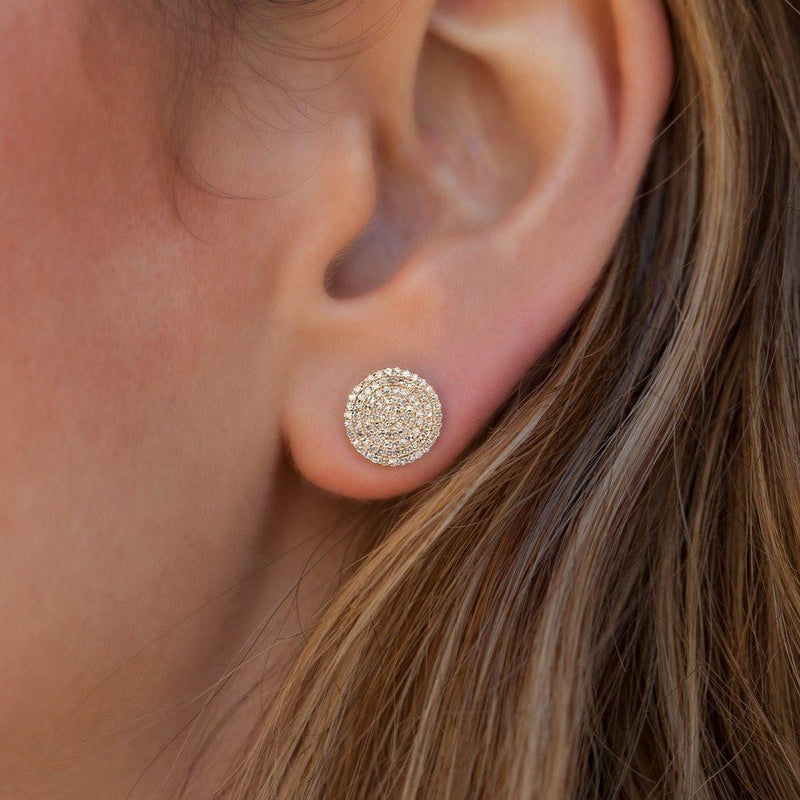 14KT Yellow Gold Diamond Luxe Disc Stud Earrings-Anne Sisteron