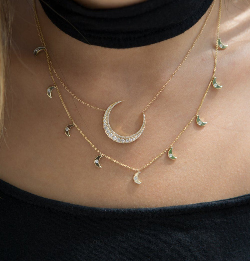 14KT Rose Gold Luxe Diamond Lunar Necklace-Anne Sisteron