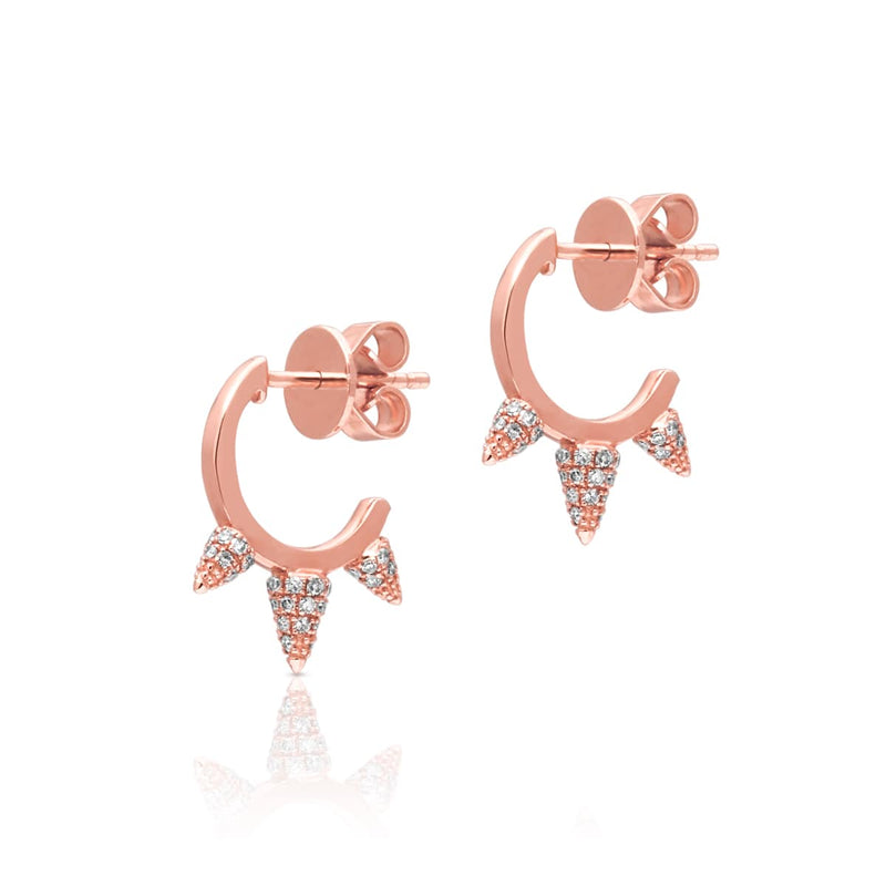 14KT Rose Gold Diamond Small Punk Rock Huggie Earrings