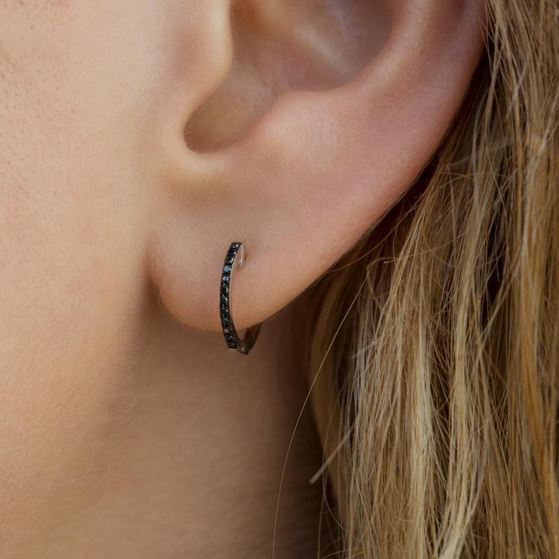 14KT Oxidized White Gold Black Diamond Zoe Huggie Earrings