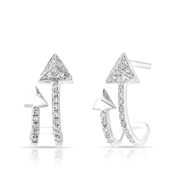 14KT White Gold Diamond Curved Arrow Huggie Earrings