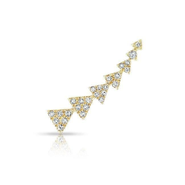 14KT Yellow Gold Diamond Triangle Ear Climber