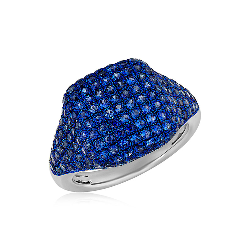 14KT White Gold Blue Sapphire Cushion Pinkie Ring