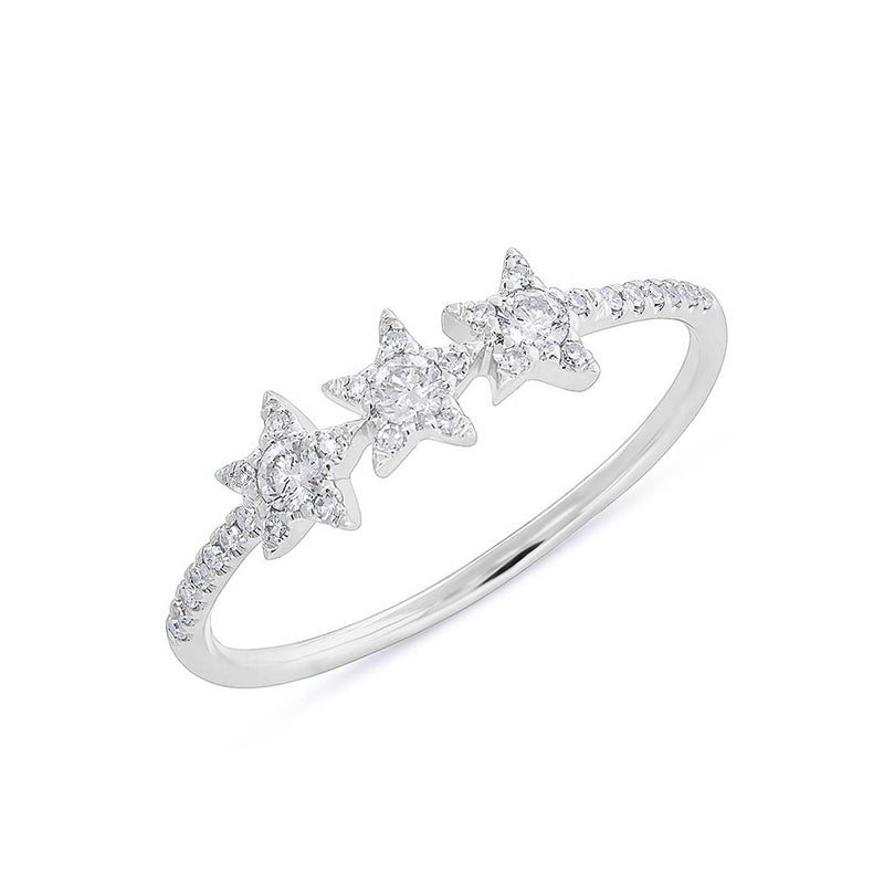 14KT White Gold Diamond Triple Star Carina Ring