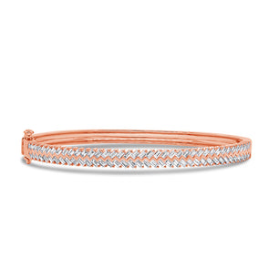 14KT Rose Gold Baguette Diamond Celine Bangle Bracelet