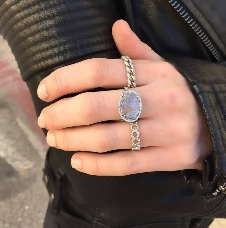 14KT White Gold Diamond Mini Lattice Ring-Anne Sisteron