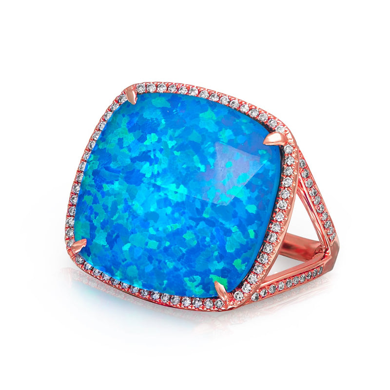 14KT Rose Gold Opal Diamond Cushion Cut Luxe Cocktail Ring