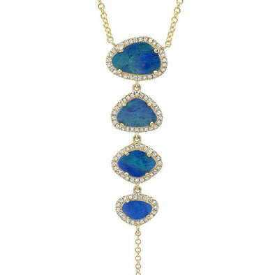 14KT Yellow Gold Opal Diamond Lariat Necklace