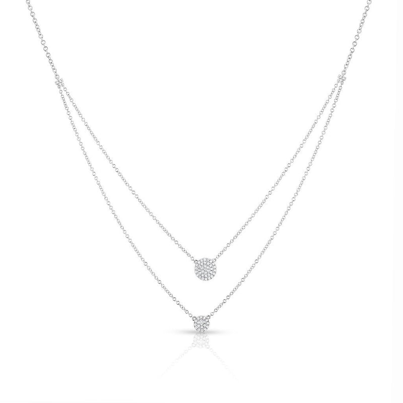 14KT White Gold Diamond Mikaila Double Layer Necklace