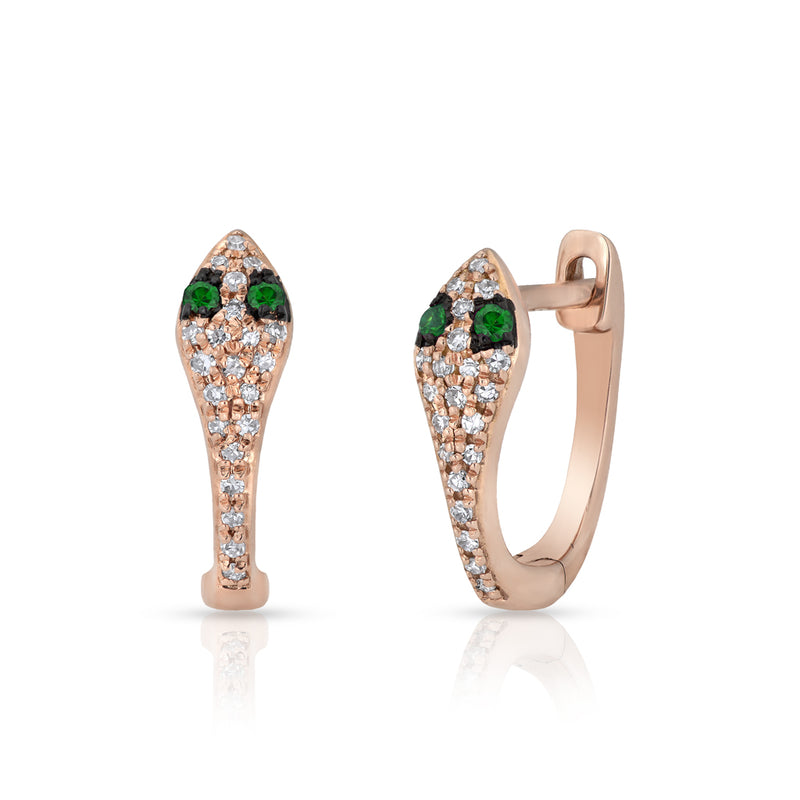 14KT Rose Gold Diamond Emerald Snake Huggie Earrings