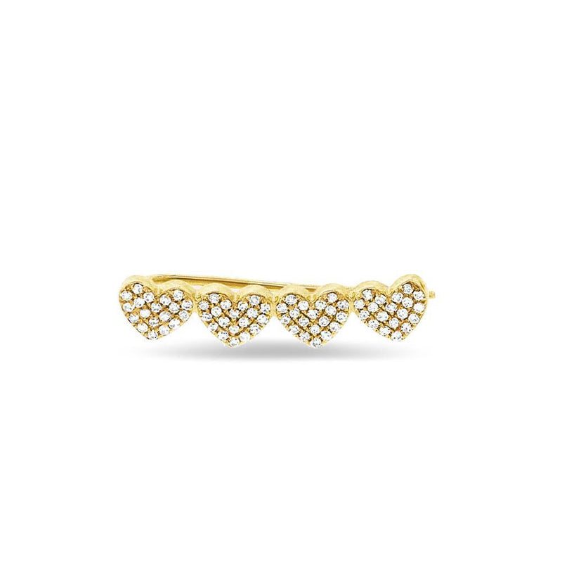 14KT Yellow Gold Diamond Row of Hearts Climber-Anne Sisteron